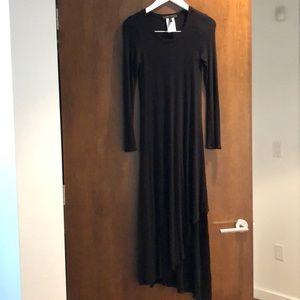 Bcbg long sleeved ribbed cotton black dress